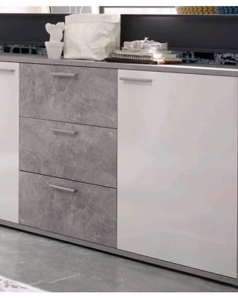 ASKO - NÁBYTOK Široká komoda so zásuvkami Mountain, šedý beton/biely lesk%