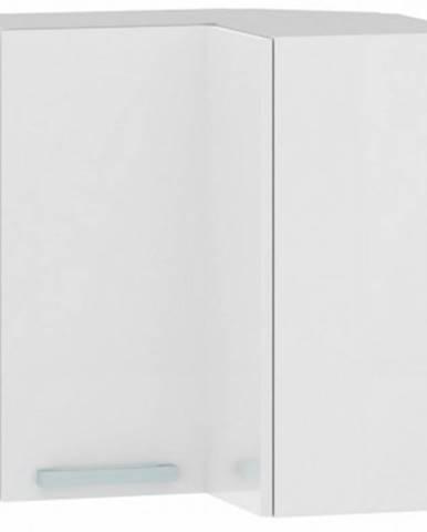 Horná rohová kuchynská skrinka One EH65RL, biely lesk, šírka 65 cm%
