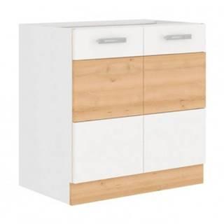 Dolná kuchynská skrinka Iconic 80D2F, buk iconic / biely lesk, šírka 80 cm%
