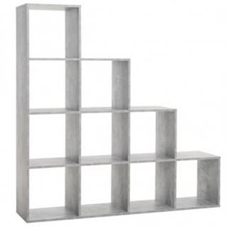 Regál s 10 priehradkami Udine 2, šedý beton%