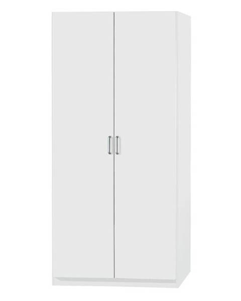 Sconto Šatníková skriňa PARKER biela, výška 197 cm, hĺbka 41 cm