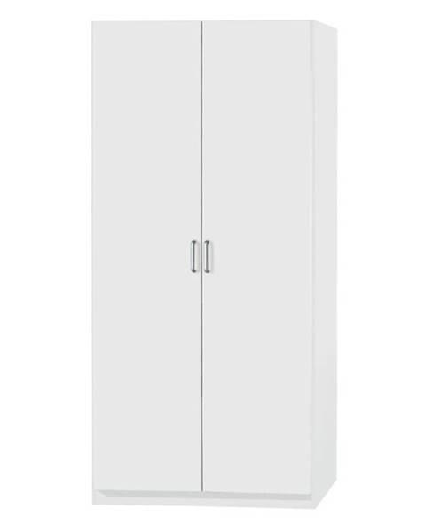 Sconto Policová skriňa PARKER biela, výška 197 cm, hĺbka 54 cm