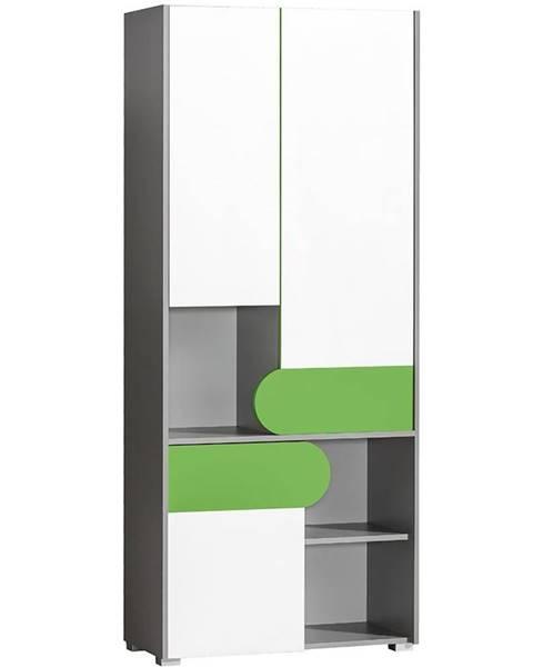 MERKURY MARKET Skriňa 3D Futuro F2 Zelená/Biely/Grafit