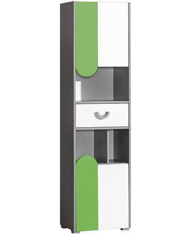 Skriňa 2D1S Futuro F3 Zelená/Biely/Grafit