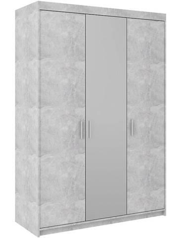Skriňa Elena 3D betón so zrkadlom