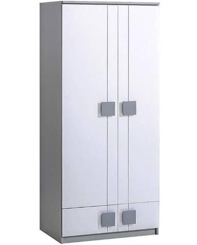 Skriňa 2D Gumi G1 Brilantná biela/Antracyt