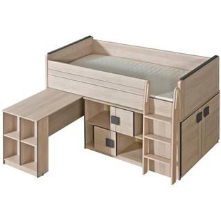 Posteľ Z Písací stôl+Regál Gumi G19 Dub Santana/Sivá