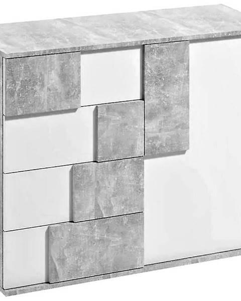 MERKURY MARKET Komoda Elstra I biela/beton