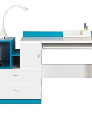 Písací stôl Mobi MO-11 biela/tyrkysová