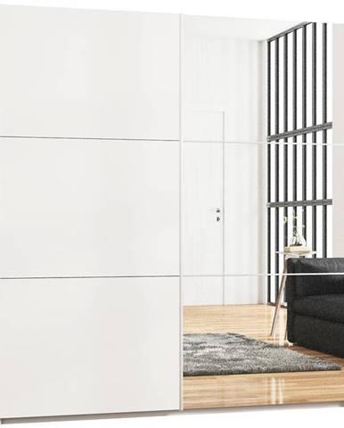 Skriňa Vigo 200 cm biely/zrkadlo