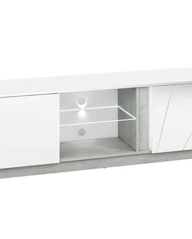 TV skrinka Lumens 09 biely lesk/betón