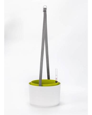 Plastia Samozavlažovací závesný kvetináč Berberis biela + zelená, pr. 26 cm