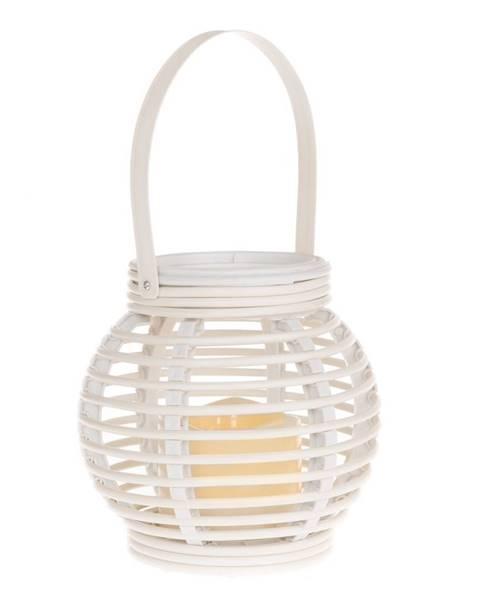 KELA Lampáš s LED sviečkou Lucida, biela, 14 x 13 x 14 cm