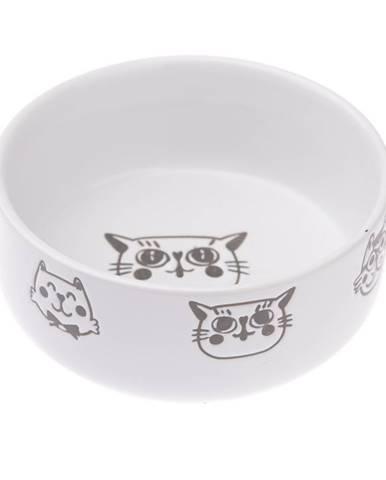 Keramická miska pre mačku 300 ml, biela, 12 x 4,8 cm