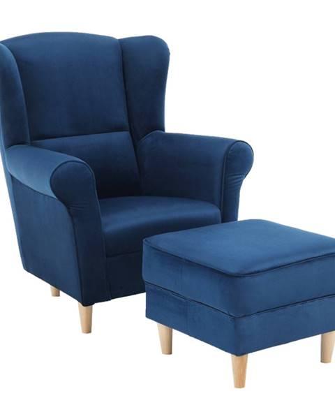 Kondela Kreslo ušiak s taburetom látka modrá ASTRID