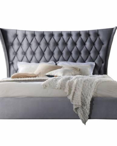 Manželská posteľ sivá/wenge 160x200 ALESIA