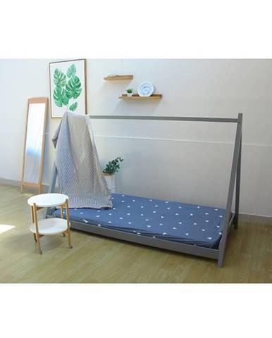 Montessori posteľ borovicové drevo sivá GROSI