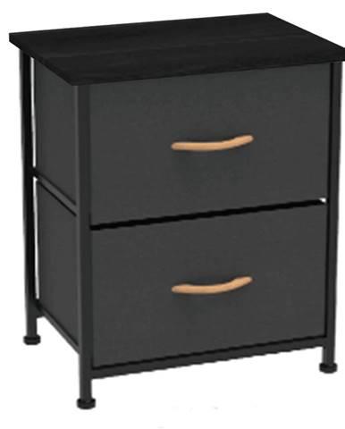 Komoda/nočný stolík s látkovými šuplíkmi čierna/červený javor KESIDY TYP 1