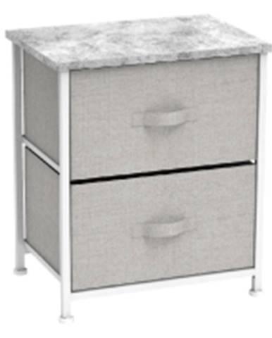Komoda/nočný stolík s látkovými šuplíkmi sivá/biela/svetlosivá ROSITA TYP 1