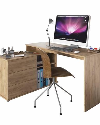 Univerzálny rohový PC stôl dub artisan TERINO
