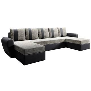 Univerzálna sedacia súprava čierna/sivohnedá LUNY ROH U