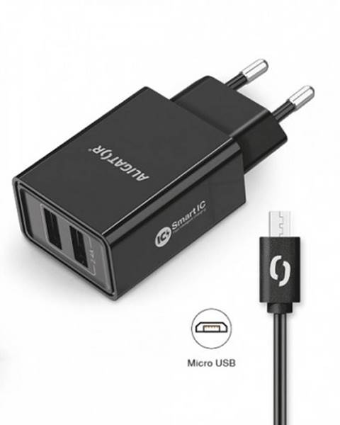 Aligator Smart nabíjačka Aligator 2,4A, 2xUSB, micro USB, čierna