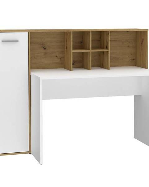 MERKURY MARKET Písací stôl Bolitarr dub artisan/biely