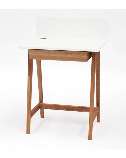 Ragaba Biely písací stôl s podnožím z jaseňového dreva Ragaba Luka Oak, dĺžka 65 cm