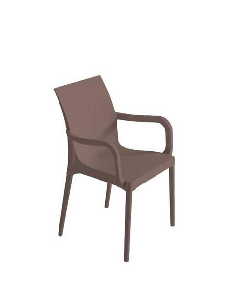 Möbelix Plastová stolička s podrúčkami Eset sivohnedá