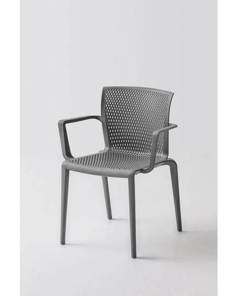 Möbelix Plastová stolička s podrúčkami spiker sivá
