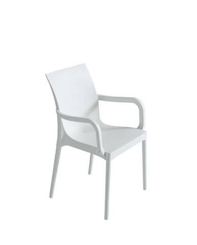 Plastová stolička s podrúčkami Eset Biela