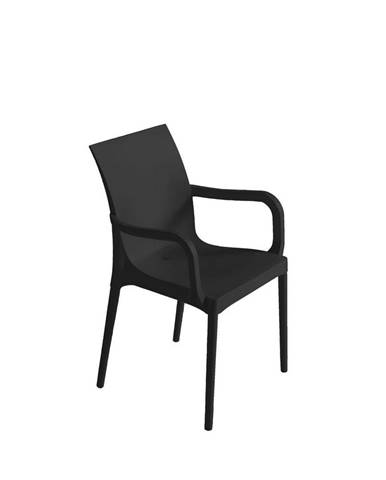 Plastová stolička s podrúčkami Eset Čierna