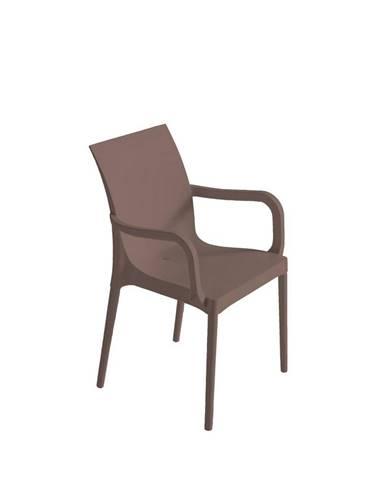 Plastová stolička s podrúčkami Eset sivohnedá