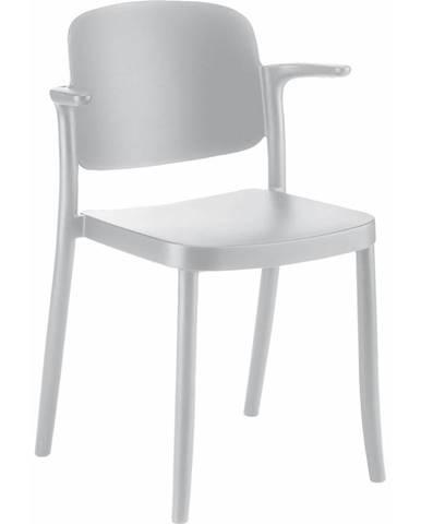 Plastová stolička s podrúčkami Plaza Biela