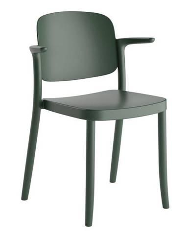 Plastová stolička s podrúčkami Plaza Zelená