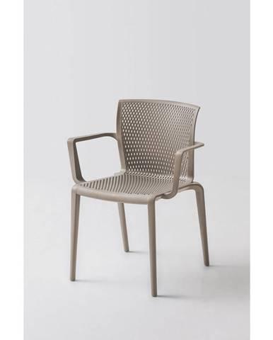 Plastová stolička s područkou spiker sivohnedá