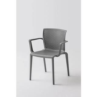Plastová stolička s podrúčkami spiker sivá