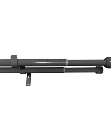 Gardinia Súprava záclonová dvojitá roztiahnuteľná GUĽA 16/19 mm, 120 - 230 cm, čierny nikel, 120 - 230 cm