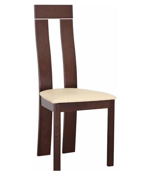 Tempo Kondela Drevená stolička orech/ekokoža béžová DESI
