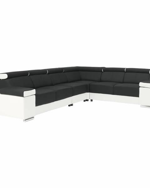 Kondela Rohová sedacia súprava biela/čierna ľavá MARBELA 2+3