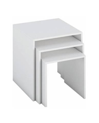 Sada troch príručných stolíkov biela SIPANI NEW
