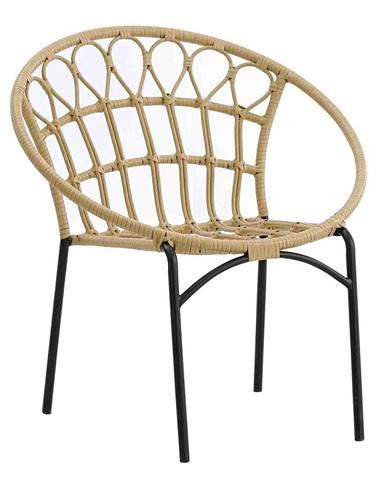 Záhradná stolička prírodná/čierna ELDIA