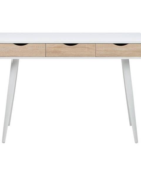 Actona Biely pracovný stôl s 3 zásuvkami v dekore dreva Actona Neptun