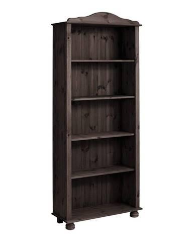 Tmavohnedá knižnica z masívneho borovicového dreva Støraa Ella