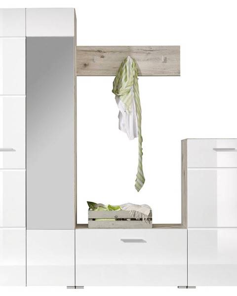 Xora Xora ŠATNÍK, biela, farby dubu, 195/195/36 cm - biela, farby dubu