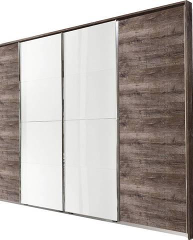 Ti`me SKRIŇA S POSUVNÝMI DVERMI, biela, bahenná hnedá, 270/210/65 cm - biela, bahenná hnedá