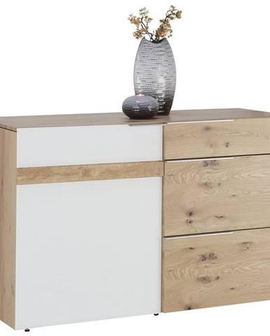 Voglauer KOMODA, divý dub, biela, farby dubu, 128/82/51,7 cm - biela, farby dubu
