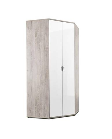 Xora ROHOVÁ SKRIŇA, biela, farby dubu, 100/216,5/100 cm - biela, farby dubu