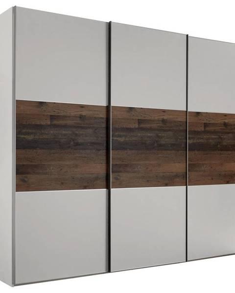 Moderano Moderano SKRIŇA S POSUVNÝMI DVERMI, hnedá, sivá, 280/222/68 cm - hnedá, sivá