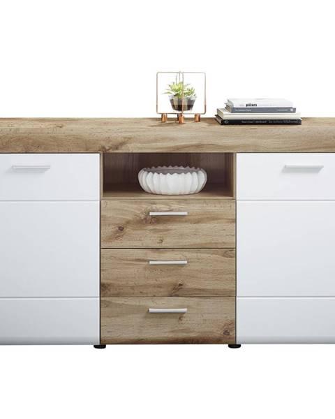 Xora Xora KOMODA SIDEBOARD, biela, farby dubu, 160/87/44 cm - biela, farby dubu